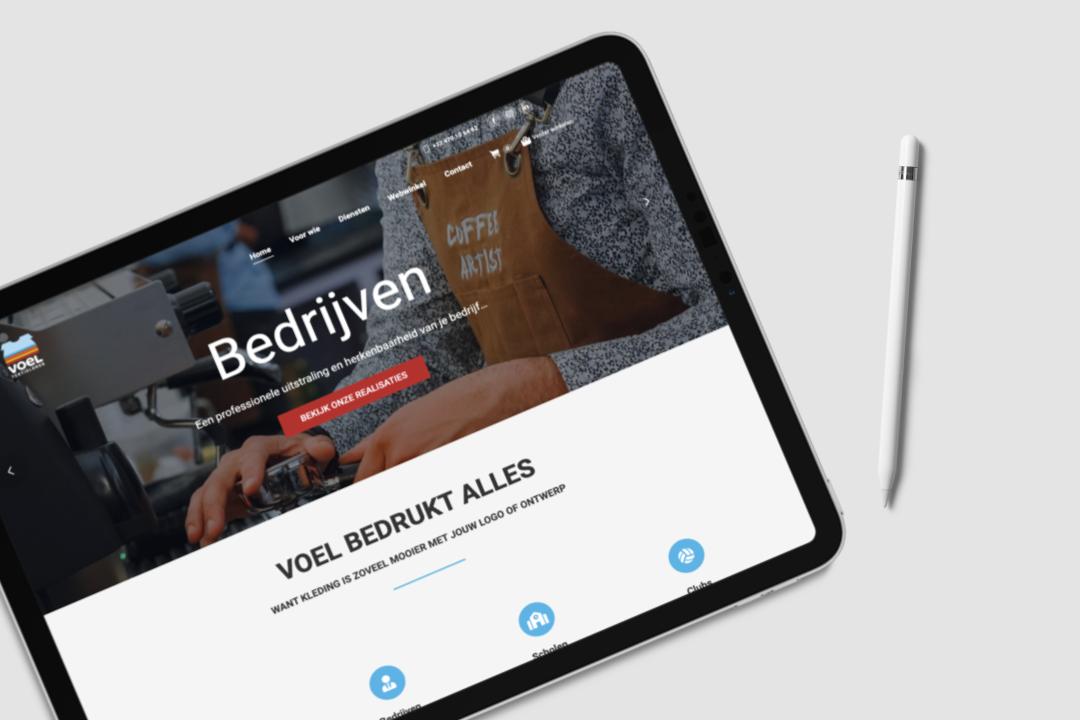 Webdesign Voel Textieldruk door marketinX